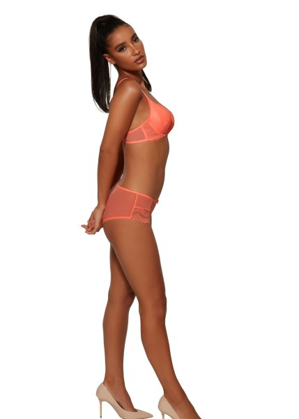 Gossard Lace Push-Up BH Neon Coral
